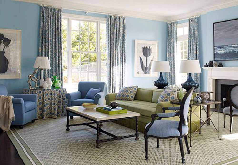 Elegant living room with shades of blue