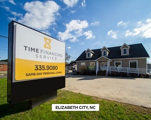 Exterior of Time Financing Service office in Elizabeth City, NC