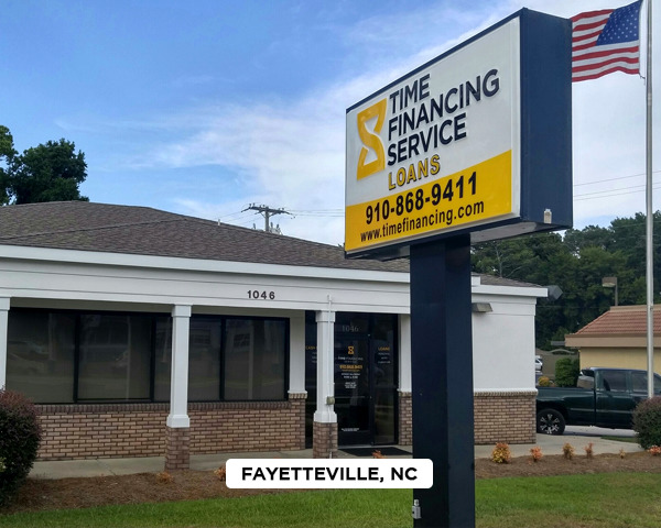 Exterior of Time Financing Service office in Fayetteville, NC